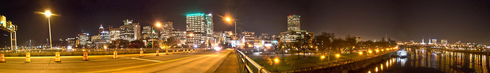 Portland skyline downtown showing Morrison bridge