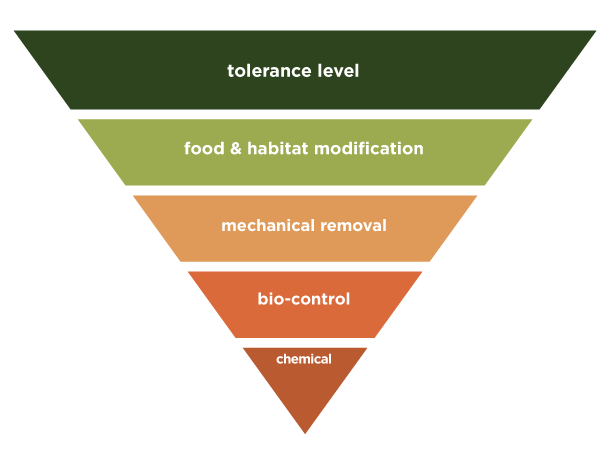 IPM, Integrated Pest Management diagram, inverted. At the top is tolerance level, descending to food & habitat modification, mechanical removal, bio control & lastly chemical. Integrated Pest Management is how farmers, gardeners, homeowners, food handlers and many others get the best pest control naturally.