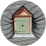 Decorative dormer with intricate shingles